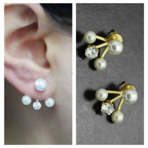 Stainless steel Pearl with CZ Ear Jacket Earrings